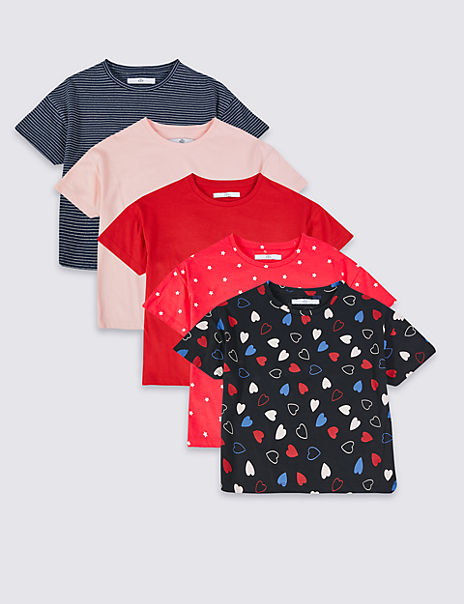 5 Pack Hearts & Stars T-Shirts (3-16 Years)