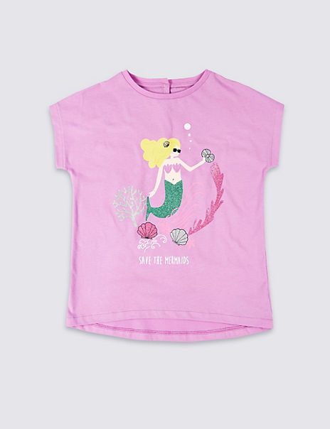 Pure Cotton Easy Dressing Mermaid T-Shirt (3-16 Years)