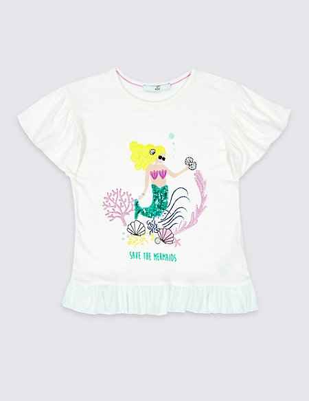 Sequin Mermaid Mesh Frill Top (3-16 Years)