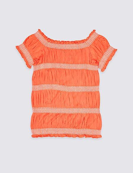 Short Sleeve Shirred Top (3-16 Years)