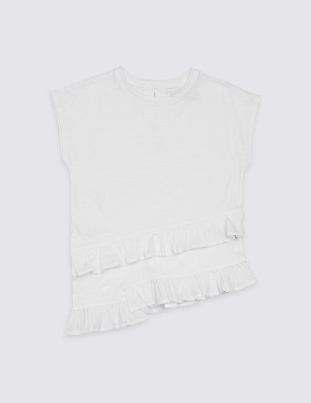 Pure Cotton Asymmetric Ruffle Top (3-16 Years)