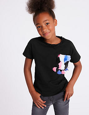 Pure Cotton Faux Fur Pocket T-Shirt (3-16 Years)