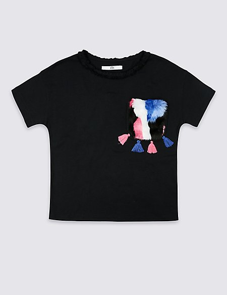 Pure Cotton Faux Fur Pocket T-Shirts (3-16 Years)