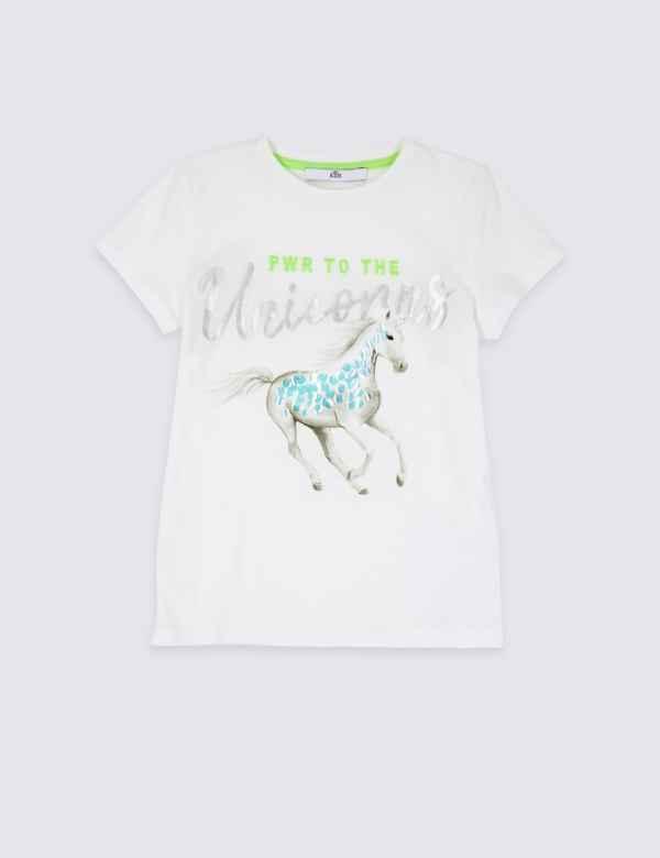 bc27b0b099b Pure Cotton Unicorn T-Shirt (3-16 Years)
