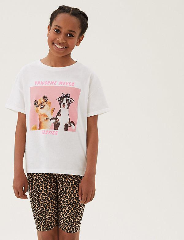 T-shirt 100% coton à imprimé photo de chien (du 6 au 16ans)
