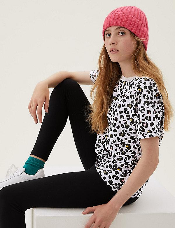 T-shirt en coton à imprimé léopard (du 6 au 16ans)