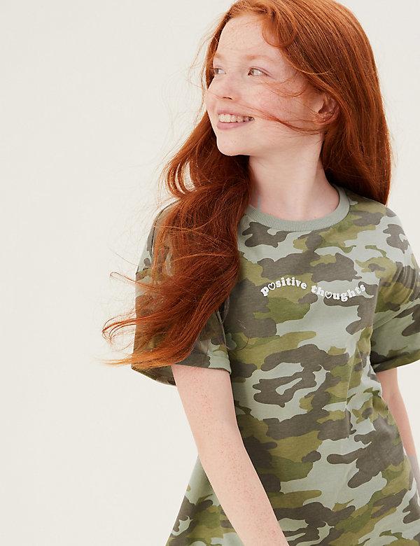 T-shirt 100% coton avec motif camouflage et texte (du 6 au 16ans)