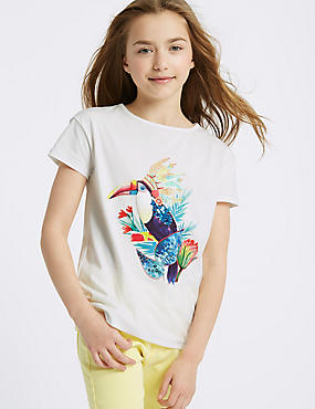 Pure Cotton Toucan Sequin Top (3-16 Years)