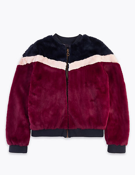 Faux Fur Striped Bomber Jacket (3-16 Years)