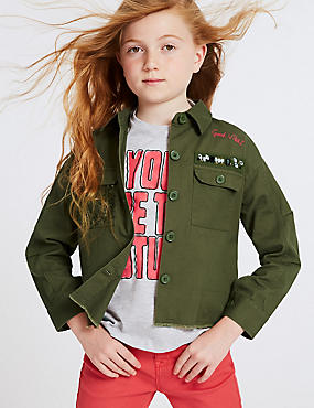 Pure Cotton Embellished Jacket (3-16 Years)