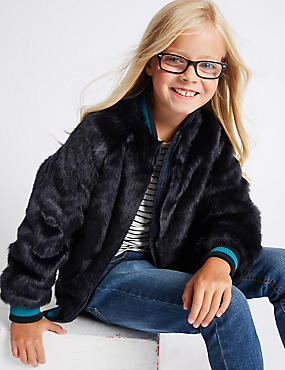 Faux Fur Bomber Jacket (3-14 Years)