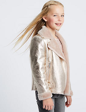 Metallic Bonded Biker Jacket (3-16 Years)