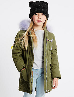 Cotton Blend Parka Coat (3-10 Years)
