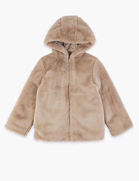 Faux Fur Hooded Coat (3-16 Years)