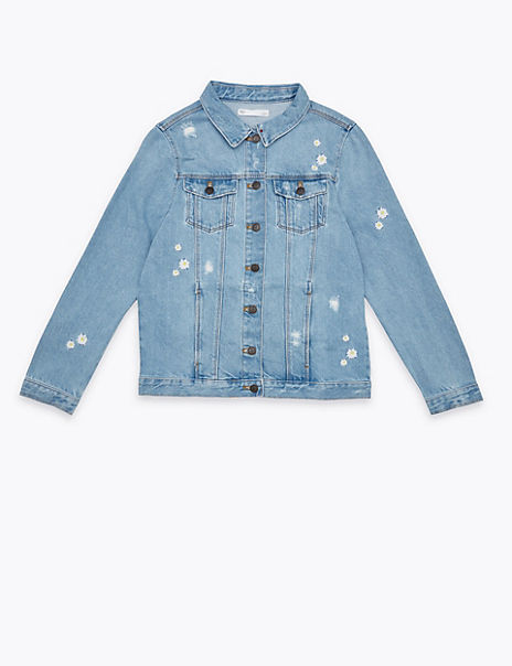 Cotton Denim Embroidered Daisy Jacket