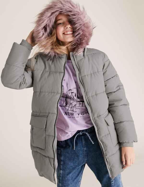 clp60452950: Stormwear™ Hooded Long Padded Coat (6-16 Yrs)