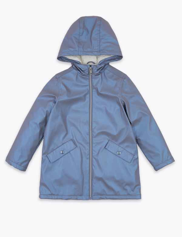 P/&E Girl Down Zip Pocket Athletic Hoodid Padded Metallic Jacket Parka Coat