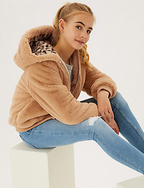 Faux Fur Hooded Bomber Jacket (6-16 Yrs)
