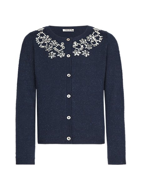 Cotton Rich Embellished Neck Cardigan (5-14 Years)