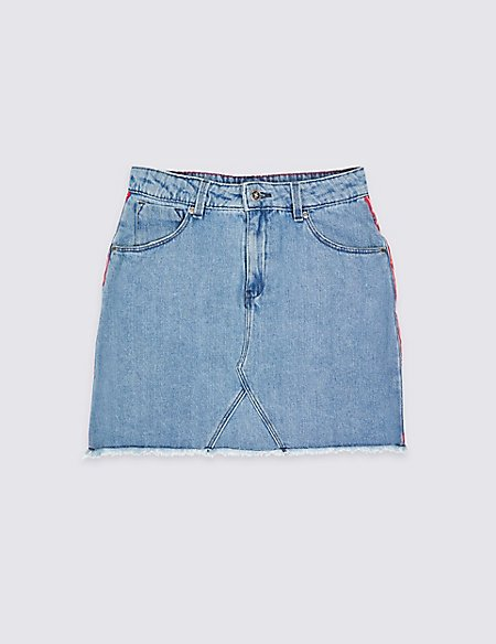 Side Stripe Denim Skirt (3-16 Years)