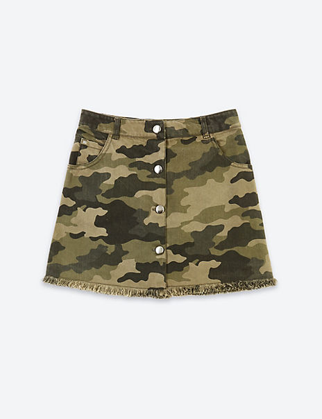 Pure Cotton Camouflage Skirt (3-16 Years)