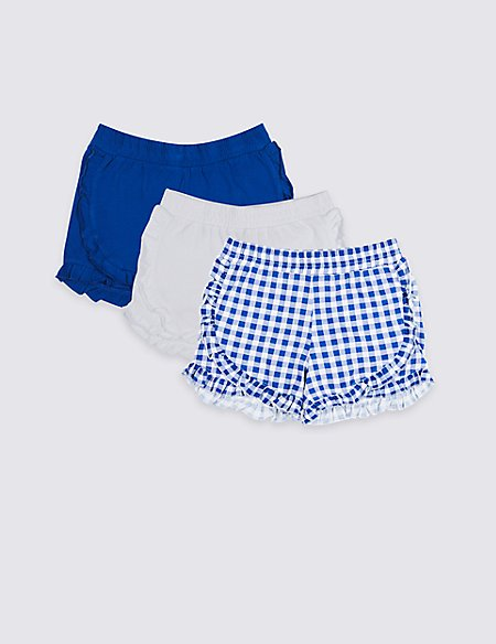 3 Pack Pure Cotton Jersey Ruffle Shorts (3-16 Years)