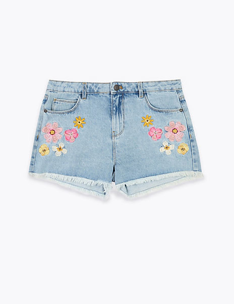 Cotton Denim Floral Embroidered Shorts (6-16 Years)