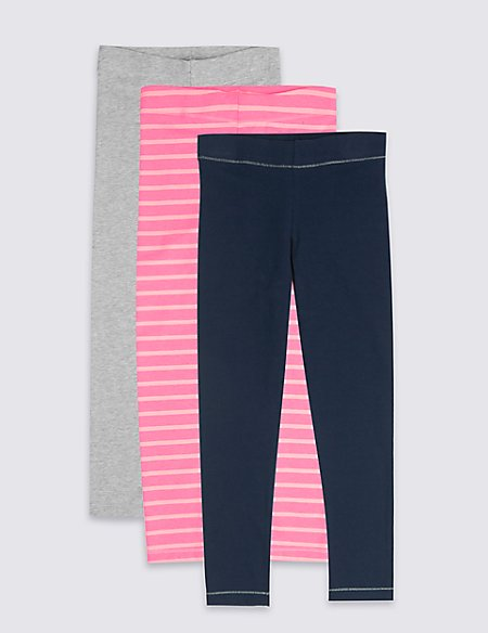 3 Pack Cotton Blend Leggings (3-16 Years)