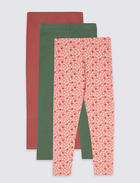 3 Pack Cotton Leggings with Stretch (3-16 Years)