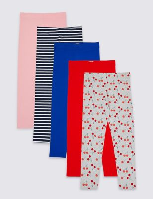796ea5a03f4dce 5 Pack Cotton Leggings with Stretch (3-16 Years) £16.00 - £22.00