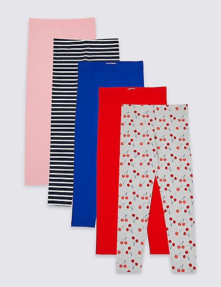 5 Pack Cotton Rich Leggings with Stretch (3-16 Years)