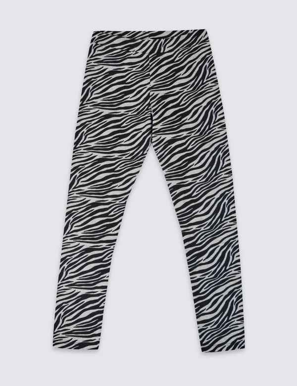 5b73ab409eb3c Cotton Zebra Leggings with Stretch (3-16 Years) | M&S