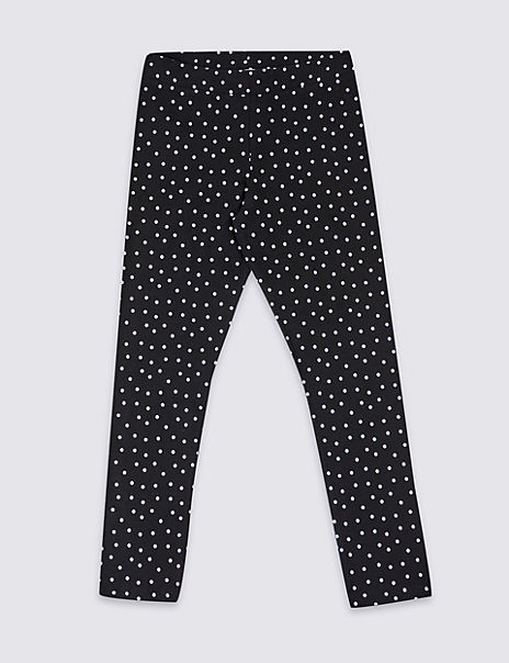 Cotton Polka Dot Leggings with Stretch (3-16 Years)