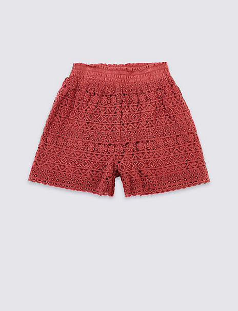 Pure Cotton Lace Shorts (3-16 Years)