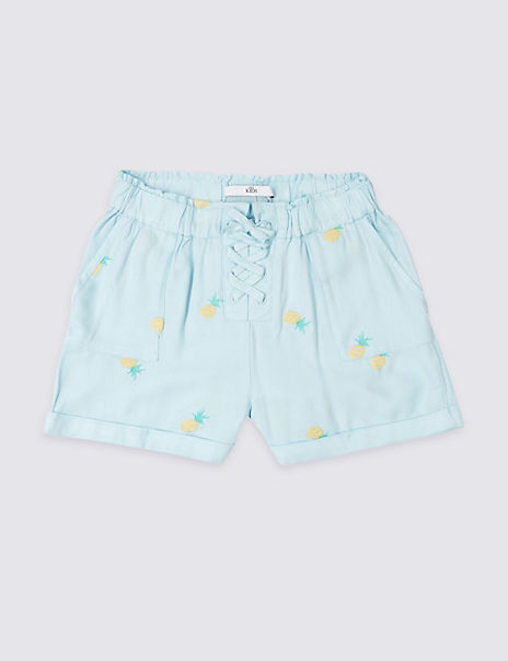 Pineapple Embroidered Shorts (3-16 Years)