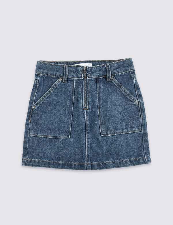 3a697e18c12e Denim Zip Front Skirt (3-16 Years)