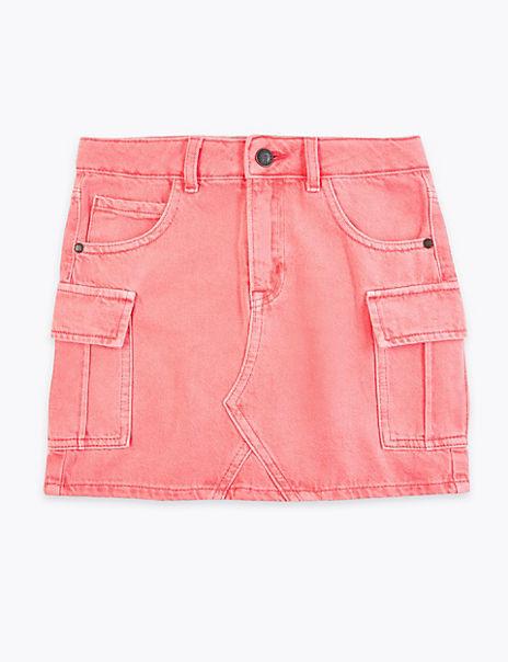 Coloured Denim Cargo Skirt (6-16 Years)