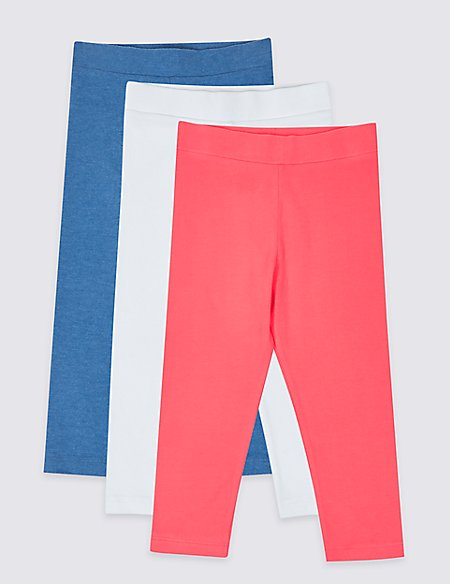3 Pack Cotton Rich Cropped Leggings (3-16 Years)
