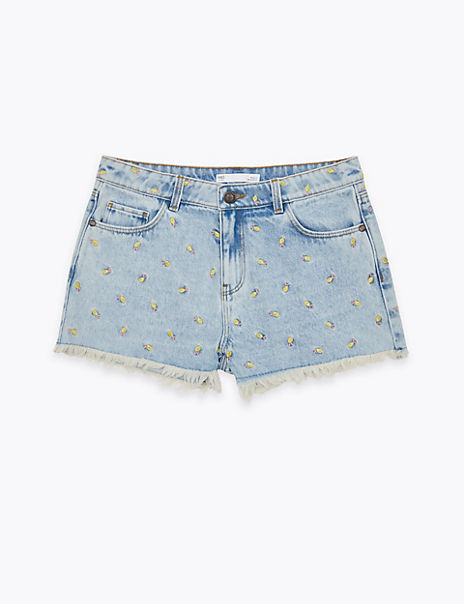 Denim Embroidered Shorts (6-16 Years)