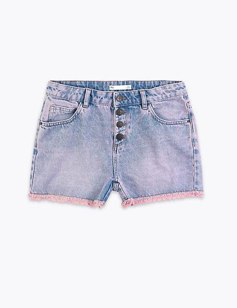 Denim Crochet Trim Shorts (6-16 Years)