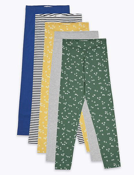 5 Pack Cotton Rich Leggings (6-16 Years)