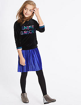 Pleated Velvet Skirt (3-14 Years)