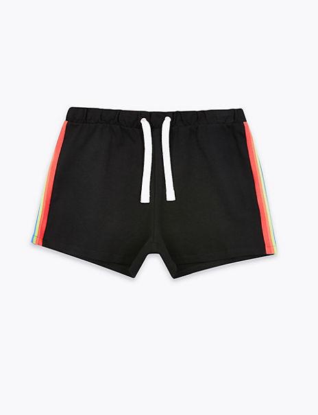 Pure Cotton Rainbow Side Stripe Shorts (6-16 Yrs)