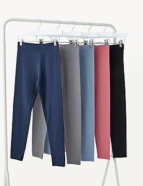 5pk Cotton Leggings (6-16 Yrs)