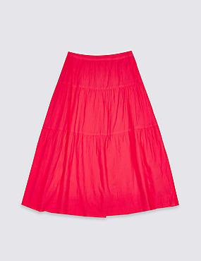 Pure Cotton Midi Skirt (3-16 Years)