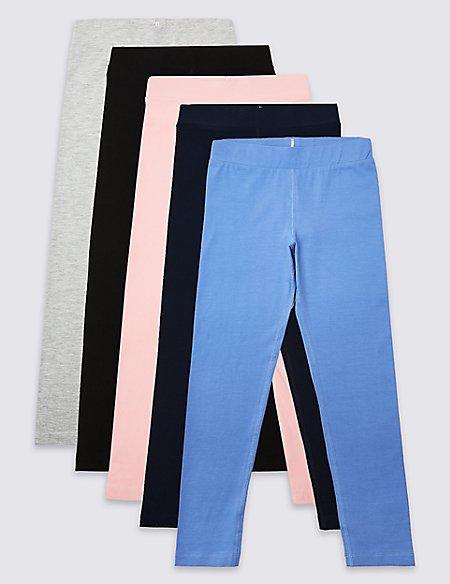 5 Pack Easy Dressing Leggings (3-16 Years)