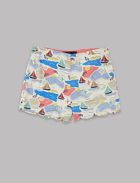 Pure Cotton Sail Boats Print Shorts (3-16 Years)