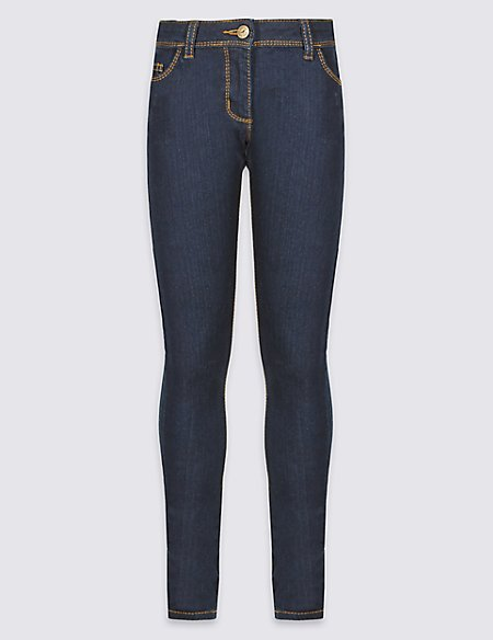 Cotton with Stretch Dark Rinse Skinny Jeans (5-14 Years)