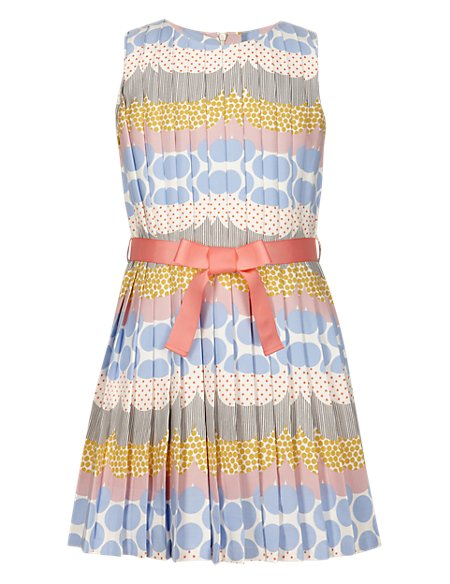 Spotted Girls Dress with Belt (5-14 Years)