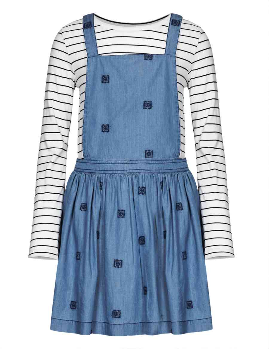 97db1c689e15e 2 Piece Embroidered Denim Pinafore & T-Shirt Outfit with StayNEW™ | Indigo  Collection | M&S